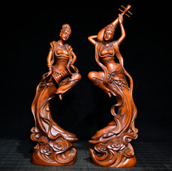 Chinese Collection Boxwood Carved Dunhuang Feitian Statues