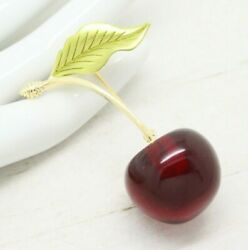Stunning Vintage Style Red Lucite Cherry Fruit Enamel Gold Brooch Pin Jewellery