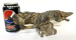 Huge Antique Austrian Cold Painted Bronze Fox With A Duck In Its Mouth Vienna