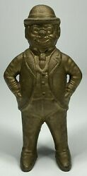 Foxy Grandpa Cast Iron Still Penny Coin Bank Gold Color - Man With Hat And Glasses
