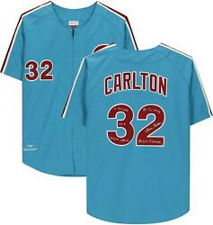 Steve Carlton Phillies Signed Blue 1980 Mandn Authentic Jersey And Inscs - Le 8