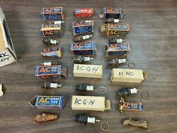 Lot Of 15 Vintage Ac Rare Green Letter Spark Plugs Nos Assortment 821