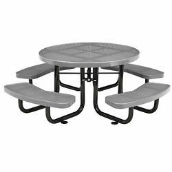46 Child Size Round Perforated Picnic Table, Gray