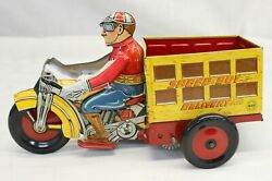 Marx Toys Speed Boy Delivery Wind Up Motorcycle Rider Tin Litho