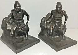 Antique Vintage Native American Indian Scout Hunter Figure Metal Bookends Pair