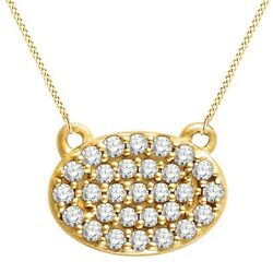 14k Yellow Gold 1/5 Ctw Natural Diamond Oval Cluster 18 Necklace