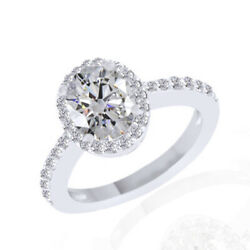 2.11ct Simulated Ideal Oval Diamonds Traditional Style Ring 18k White Gold