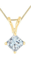 1/3 Ct Princess Cut Real Diamond 14k Yellow Gold Solitaire Pendant With Chain