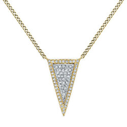 2/9 Ct Round Cut Simulated Solid 14k Yellow Gold Long Triangle Pendant Necklace