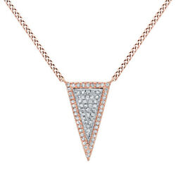2/9 Ct Round Cut Simulated Solid 14k Rose Gold Long Triangle Pendant Necklace