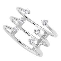 1/4 Ct Round Cut Simulated Solid 14k White Gold Six Stone Open Cage Ring