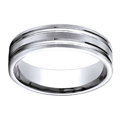 14k White Gold 6mm Comfort Fit Satin Finish Grooves Carved Band Ring Sz 12