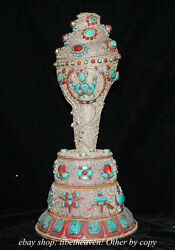 13 Old Tibet Pure Silver Filigree Inlay Turquoise Conch Shell Trumpet Horn