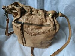 Anthropologie Day And Mood Tan Leather Hobo Bucket Drawstring Bag Purse