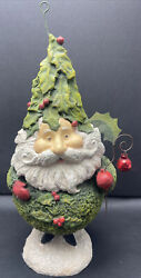 """Rucus Studio For Bethany Lowe Designs Santa Claus Gnome Paper Mache 13"""" Tall"""