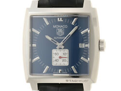 Auth Tag Heuer Watch Monaco Ww2111.fc6204 Ss Leather Automatic Blue Case37mm