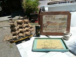 Vintage Wood Cutty Sark Whiskey Sign And Ship + Extras Breweriana Advertiseme Bar