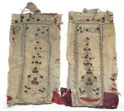 2 Antique Jewish Silk Mantles For Torah Book Roller Hand Embroidery 19th Century
