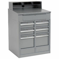 Shop Desk With 7 Drawers, 34-1/2w X 30d X 51-1/2h, Gray