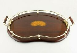Large Mahogany Silver Plate Kidney Shape Shell Inlay Gallery Cocktail Tray C1900