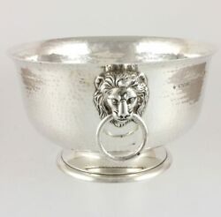 Antique Solid Silver Hammered Lion Bowl. Champagne Cooler Ice Wine Bucket. 1919