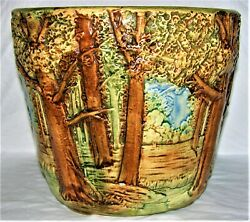 Weller Pottery 8-1/2 Forest Jardiniere Medium Size Spectacular Circa 1920and039s