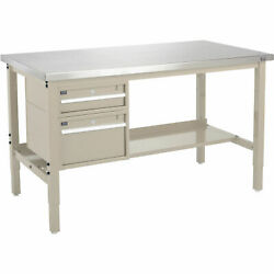 72w X 30d Workbench 1-1/2 Thick Stainless Steel Square Edge With Drawers And