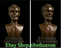 12 Rare Western Art Bronze Copper Marble Base Lincoln President Bust Statue