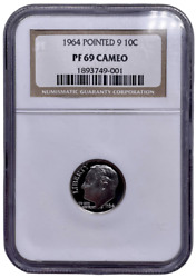 1964 Pointed 9 Ngc Pf69 Cameo Roosevelt Dime Silver Proof Cam Pr 9001