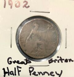 1902 Great Britain Half Penny [free Shipping]