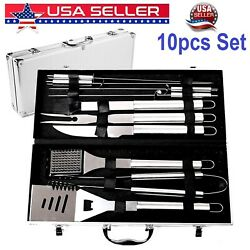 Stainless Steel Bbq Grill Tools Set Grilling Tool Camping Barbecue Utensil 10pcs