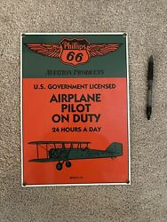 Phillips 66 Aviation Products Porcelain Advertising Sign Airplane Pilot On Duty