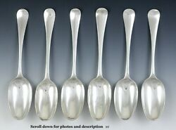 6 Antique English 1700's Georgian Sterling Silver Hanoverian Serving Spoons