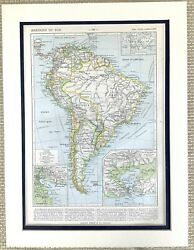 1895 Antique Map Of South America Brazil Peru Argentina Bolivia Chile Old French