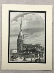 1875 Antique Print Bristol St Mary Redcliffe Gothic Church Architectural View