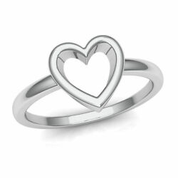 18k Ring Solid White Gold Ladies Jewelry Modern Heart Pattern Cgr7w