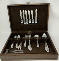 Dominick And Haff Sterling 925 Silverware Set Pointed Antique - Mono J - 52 Pc Set