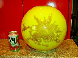 Antique Fantastic Huge Yellow Cased Glass Lamp Shade W/dragons On 2 Sides