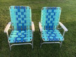 ✨2 Vintage Aluminum Woven Webbed Folding Lawn Chairs Blue/green Clean 60s✨