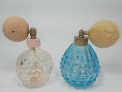 2 Vintage Perfume Bottles Atomizer Blue Cut Glass And Pink Bubble Glass 3 Tall