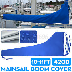 3.5m Sail Cover - Mainsail Boom Cover 420d 10-11ft Waterproof Fabric Blue Boat