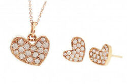 1.55ct Round Diamond 14k Solid Rose Gold Butterfly Lock Earring Pendant Set