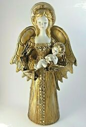 Large 15 Vintage Gold Angel With Baby Jesus Paper Mache Composition Rhinestones