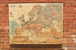 1941 Cram's Europe Map School Pull Down 54 1/2 By 50 Wwii Mounts Functions