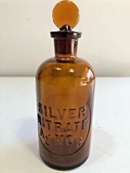 Vintage Amber Embossed Silver Nitrate A G No 3 Bottle With Stopper T.c.w. Co