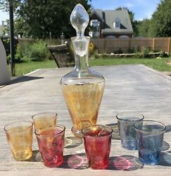 Vtg Etched Glass Decanter Handblown Stopper 6 Multicolored Shot Sherry Glasses