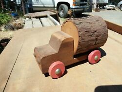 Vintage Toy Truck Wood Log Child Collectible Rustic Rural Cabin Mountain Decor