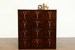 Triple Office Or Library 12 Drawer Antique File Cabinet 34109