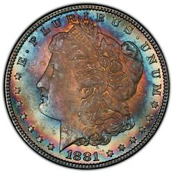Rainbow 1881 1 Ms64 Pcgs Cac Toned Morgan Color Double Sided