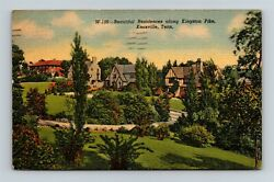 Postcard Tn Knoxville Tennessee Homes Along Kingston Pike C1940s Linen X18